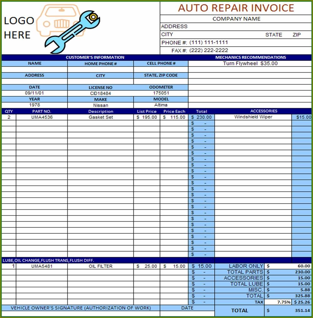 Excel Auto Repair Invoice Template