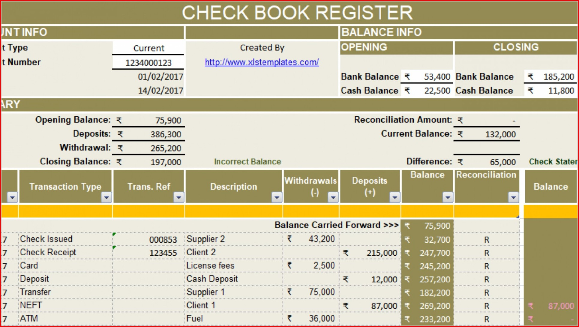 Excel Checkbook Ledger Template