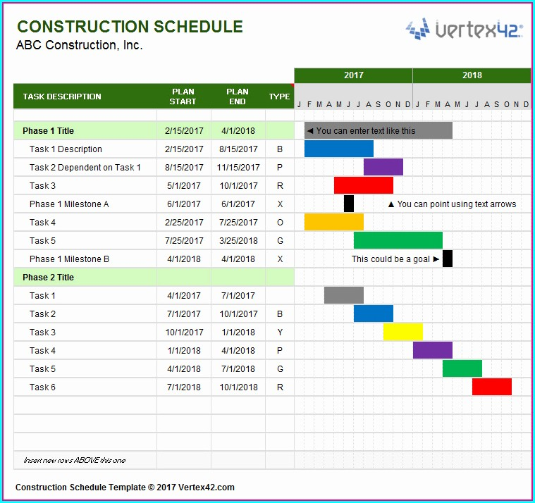 Excel Construction Gantt Chart Template