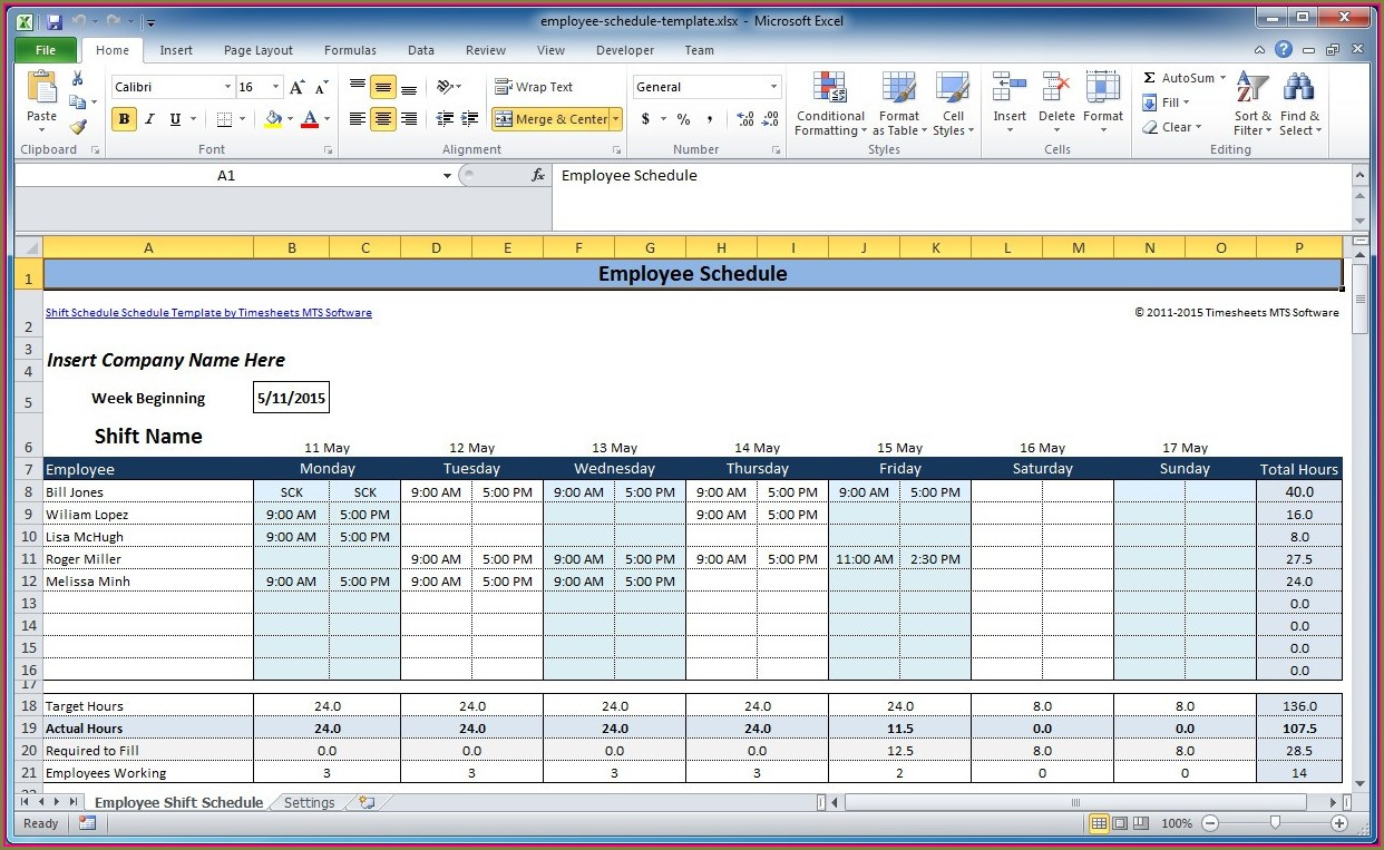 Excel Employee Shift Schedule Template