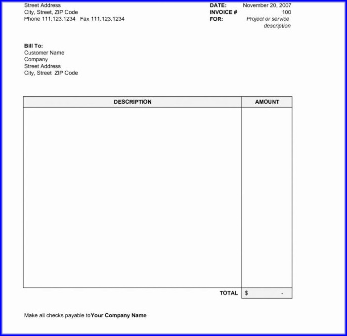 Excel Free Printable Invoice Templates