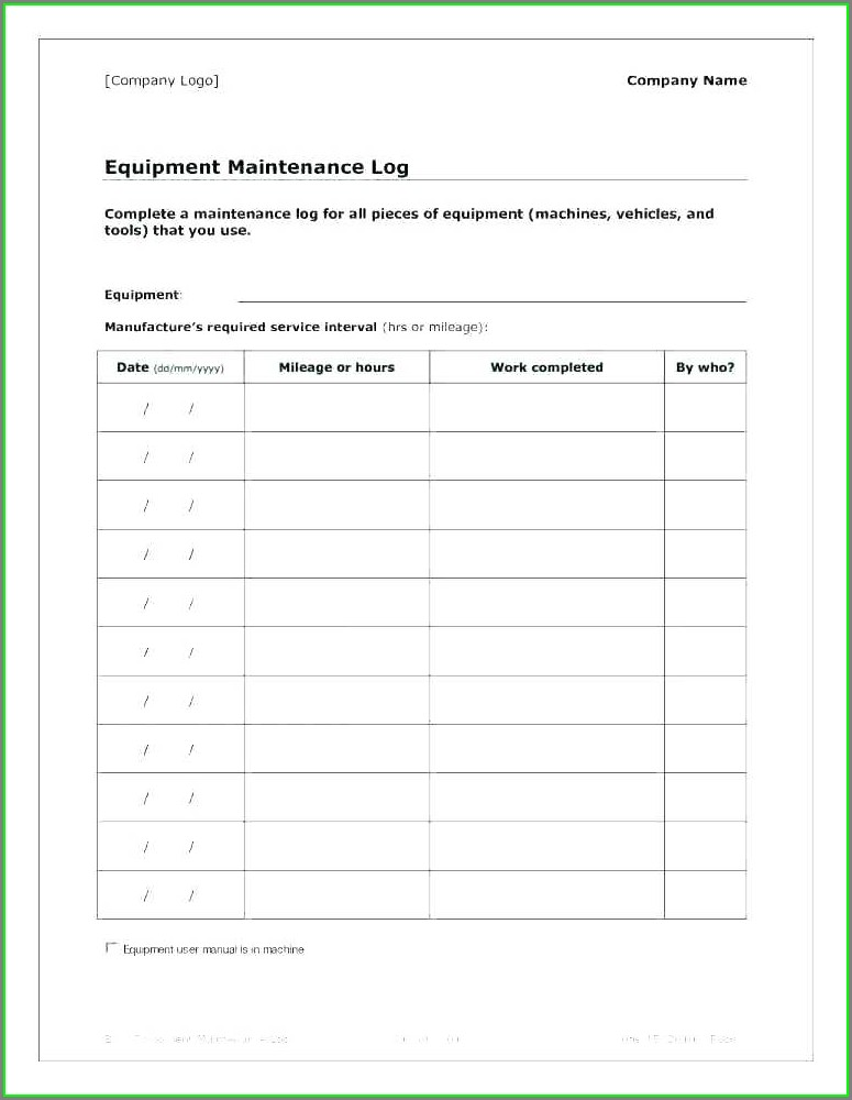 Excel Preventive Maintenance Plan Template