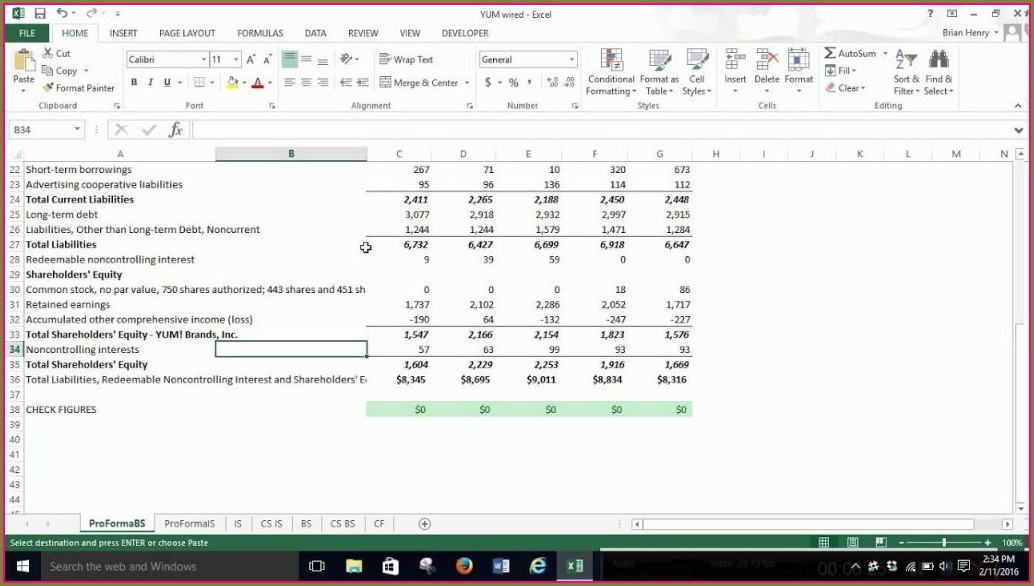 Excel Pro Forma Balance Sheet Template