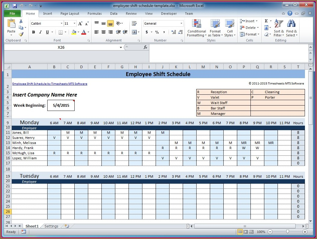 Excel Shift Schedule Template