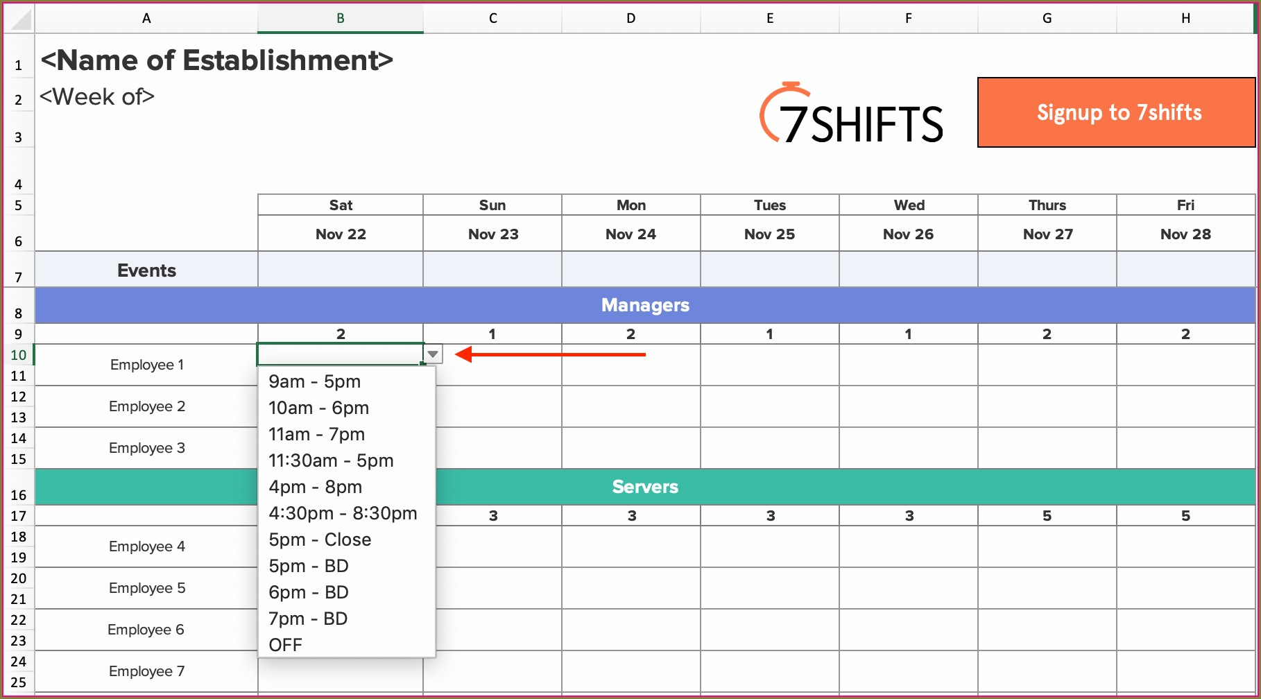 Excel Work Shift Schedule Template
