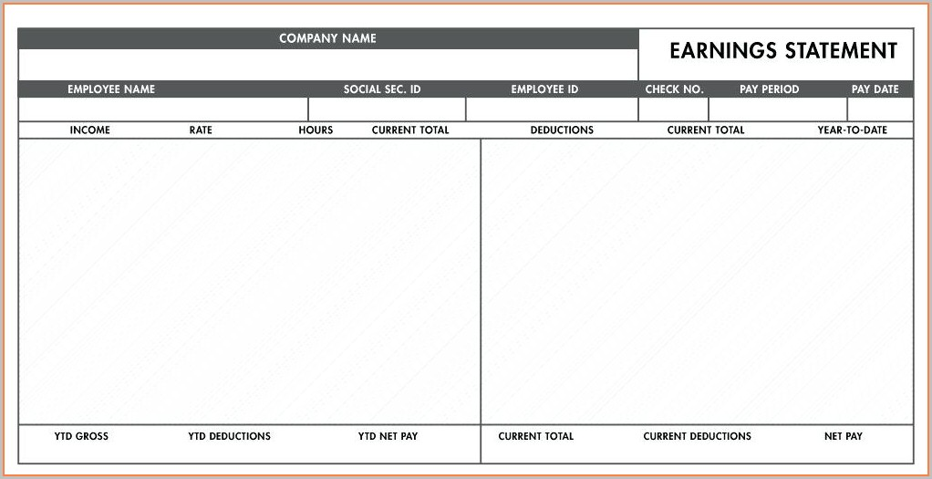 Fake Check Stubs Template
