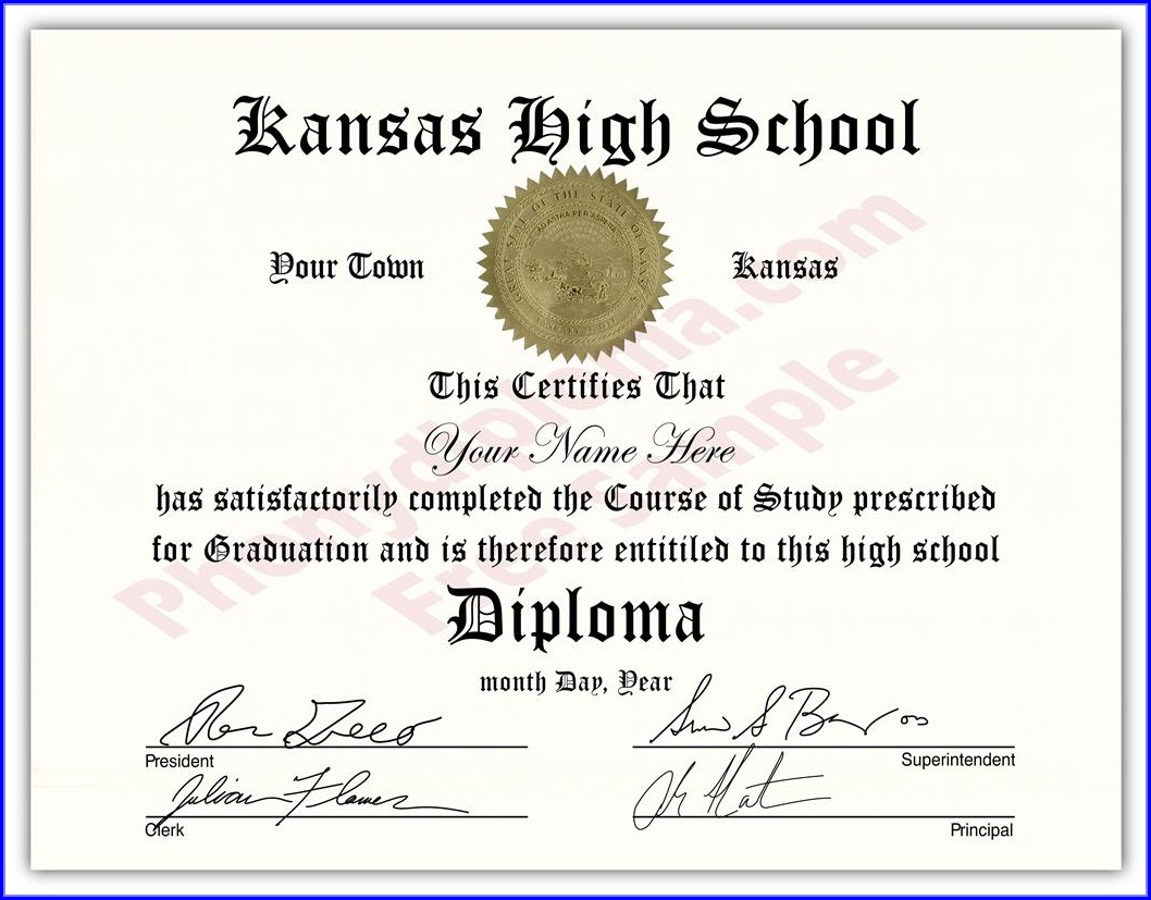 Fake High School Diploma Template Free