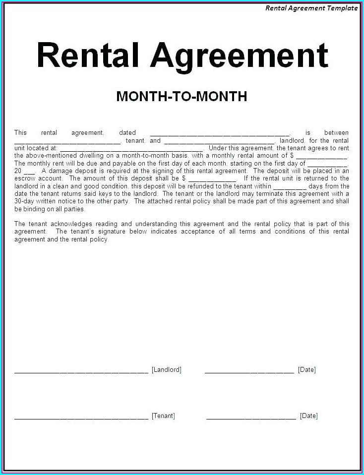 Family Member Printable Rental Agreement Template