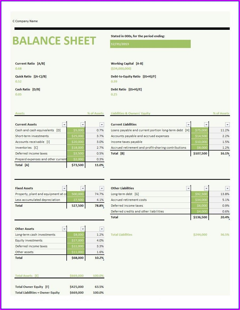 Farm Balance Sheet Template Excel