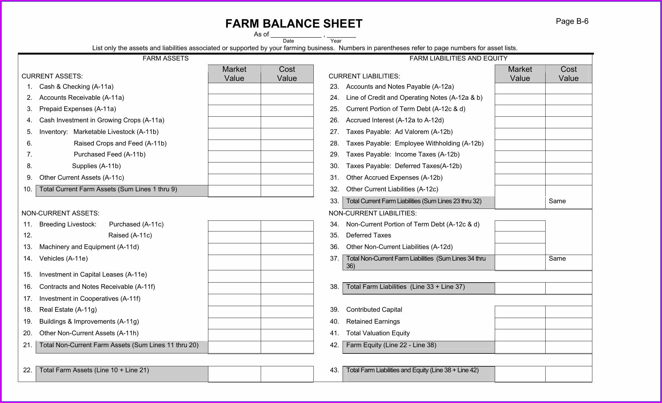 Farm Balance Sheet Template