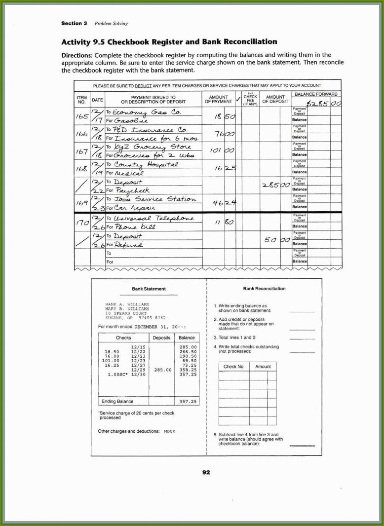Fillable Blank Bank Statement Template