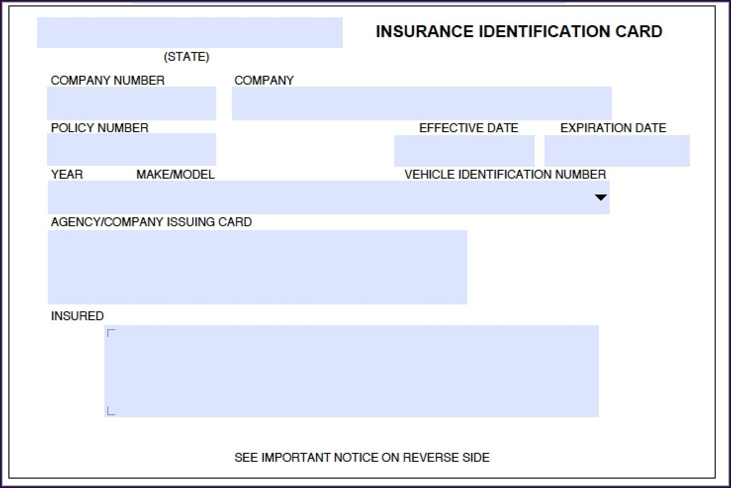 Fillable Fake Car Insurance Card Template