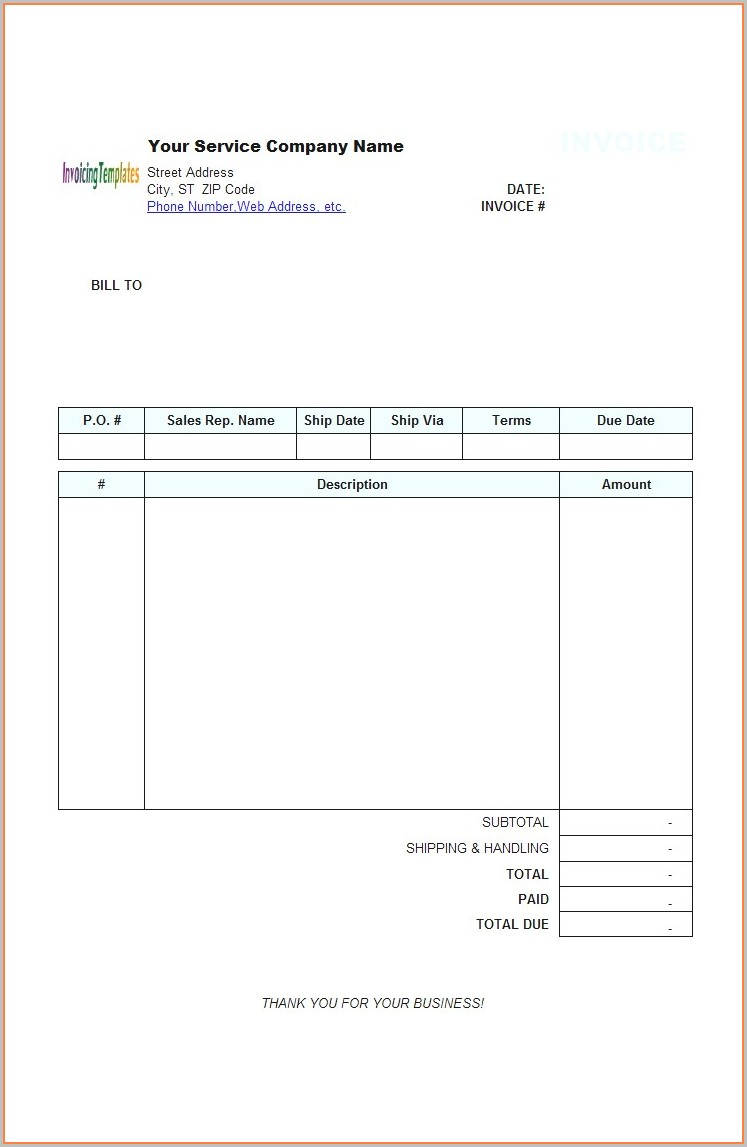 Fillable Free Blank Invoice Template Word