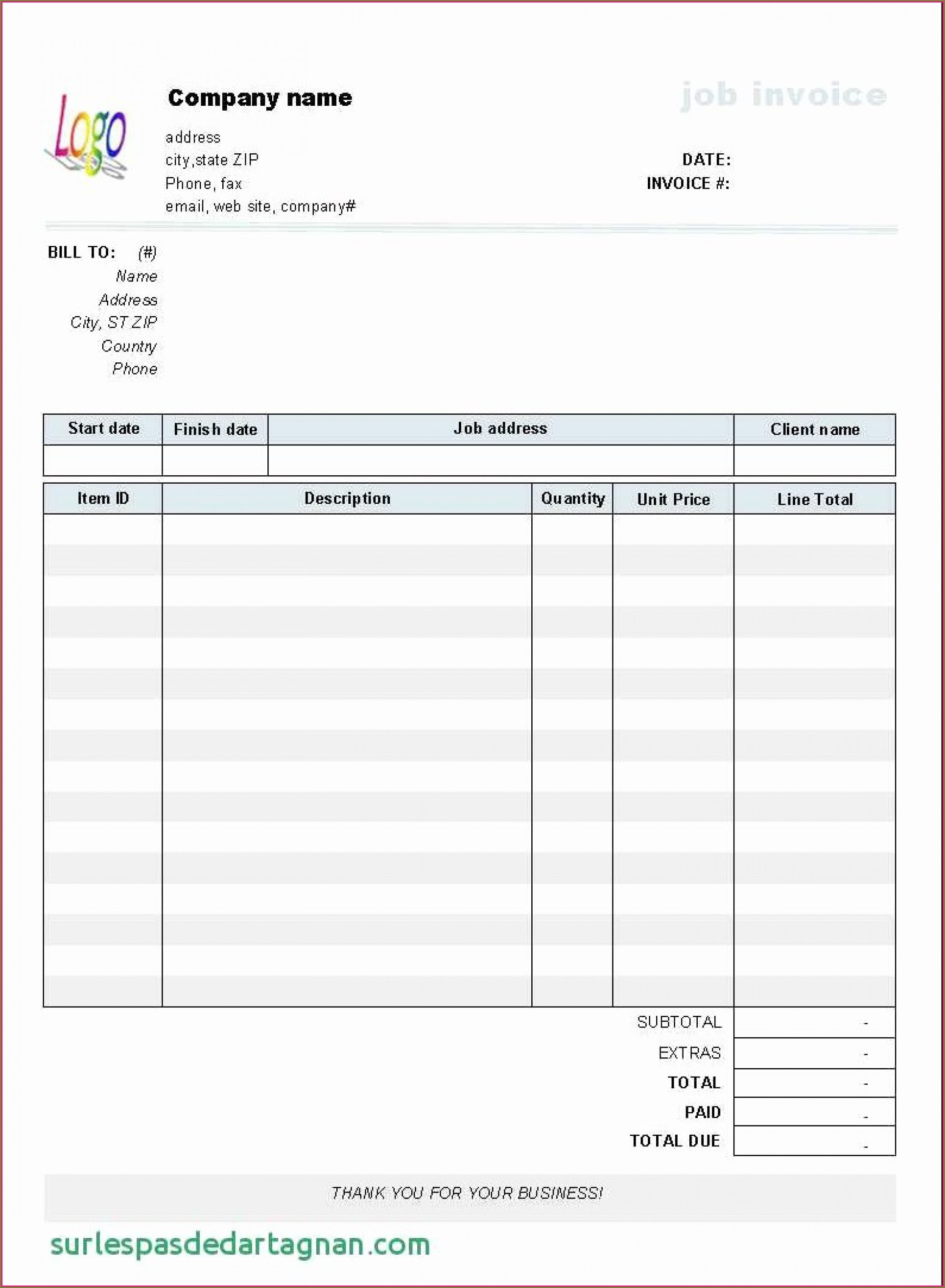 Fillable Free Blank Invoice Template
