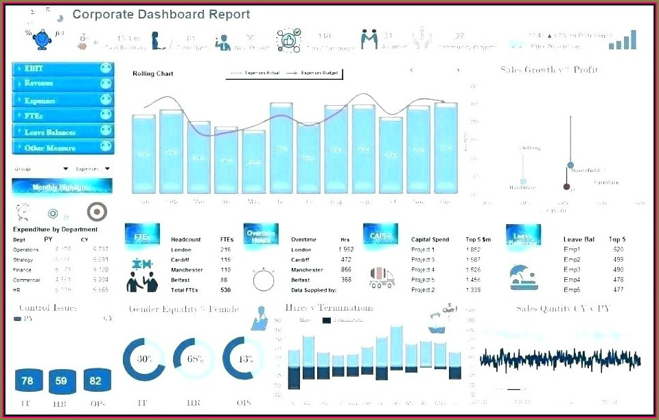 Financial Reporting Financial Dashboard Excel Template