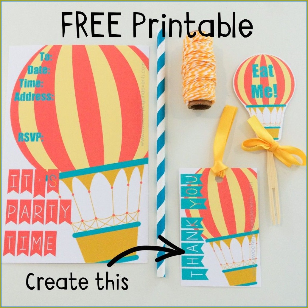 First Birthday Hot Air Balloon Invitation Template Free