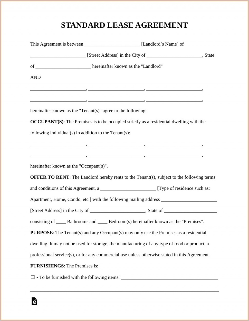 Florida Rental Lease Agreement Templates
