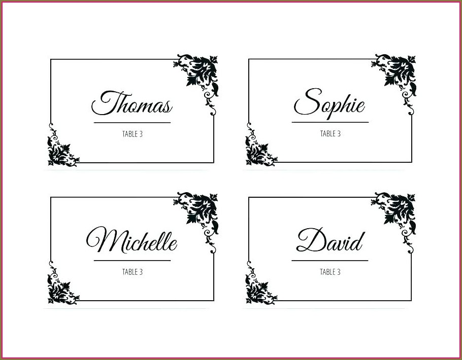 Foldable Place Card Template Word