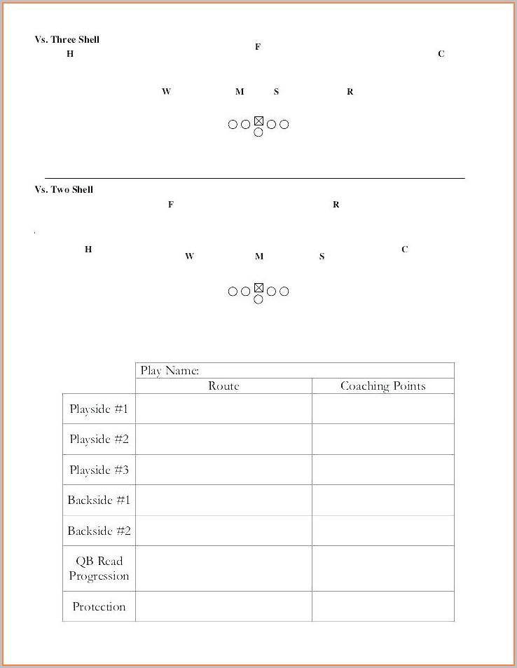 Football Wrist Coach Template Excel