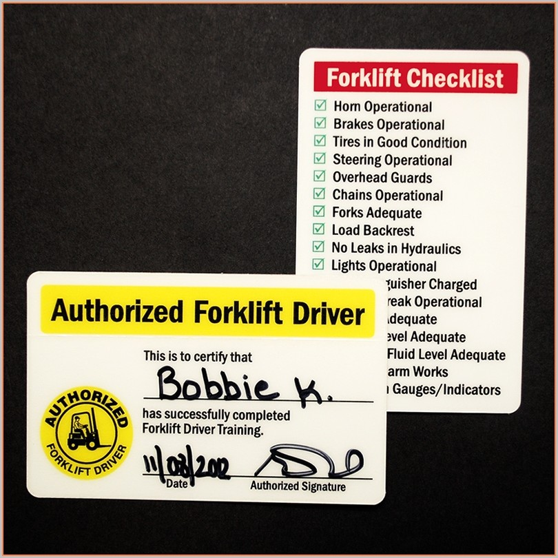 Forklift Certification Card Forklift License Template
