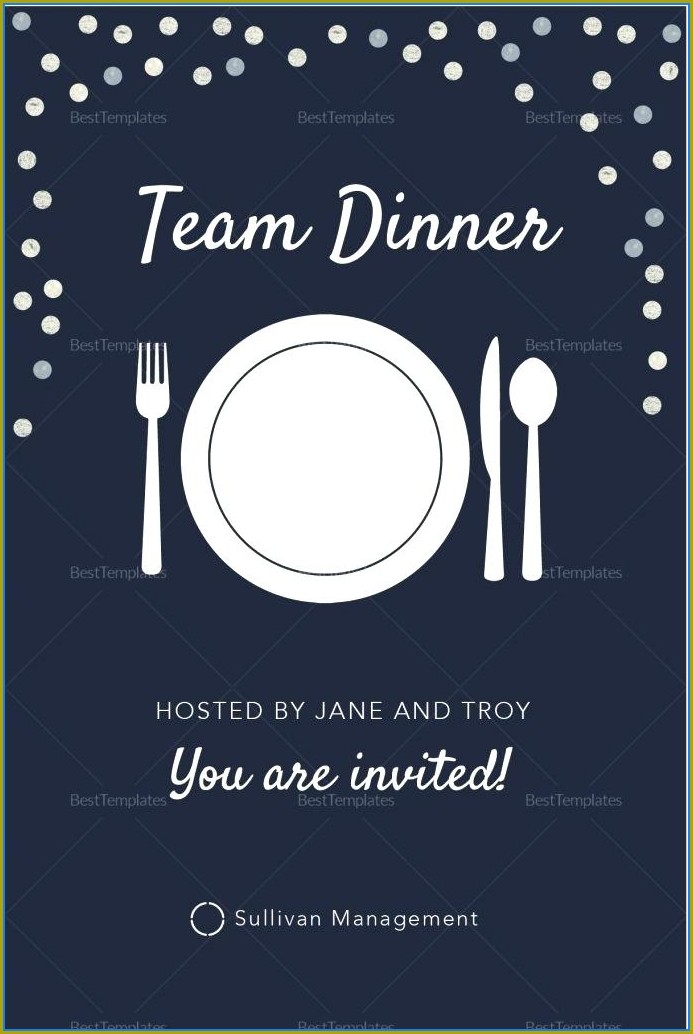 Formal Team Dinner Invitation Email Template