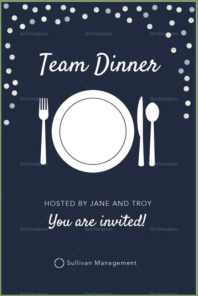 Formal Team Dinner Invitation Email Template
