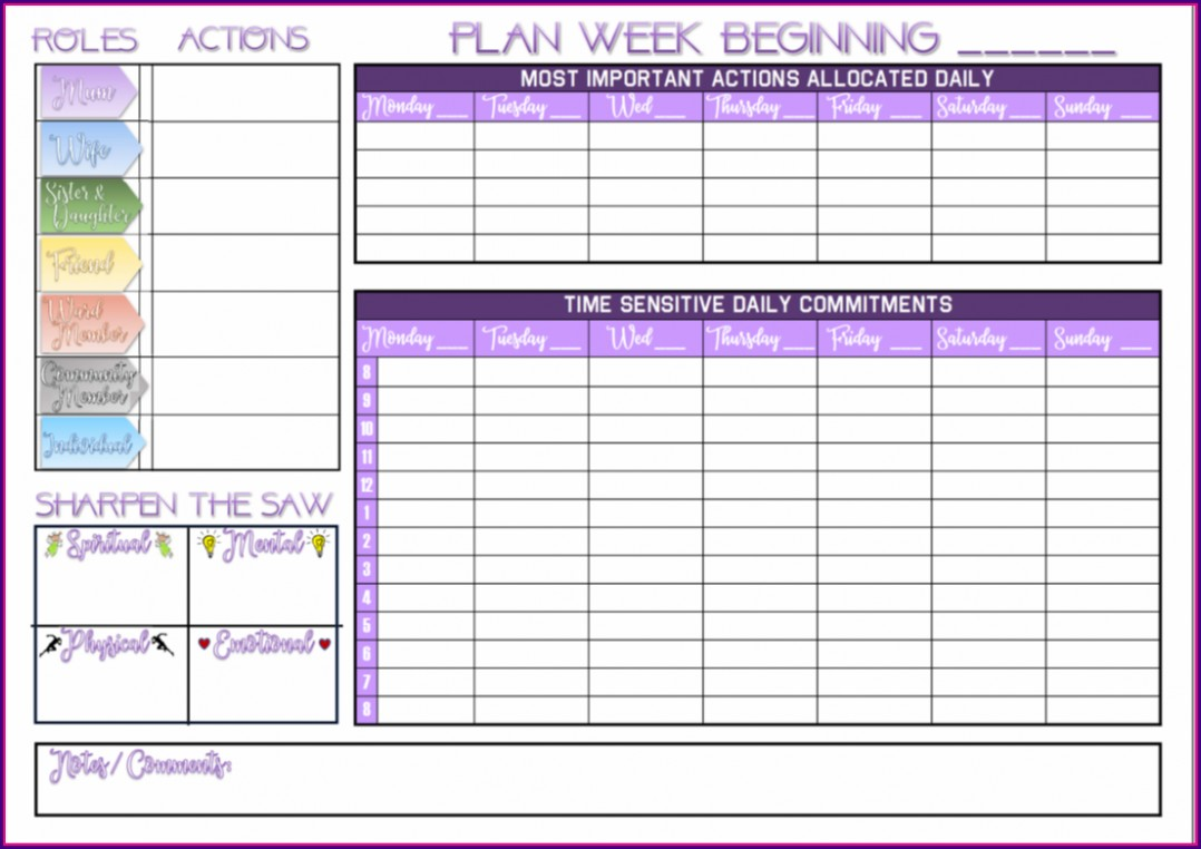 Franklin Planner Template Pdf