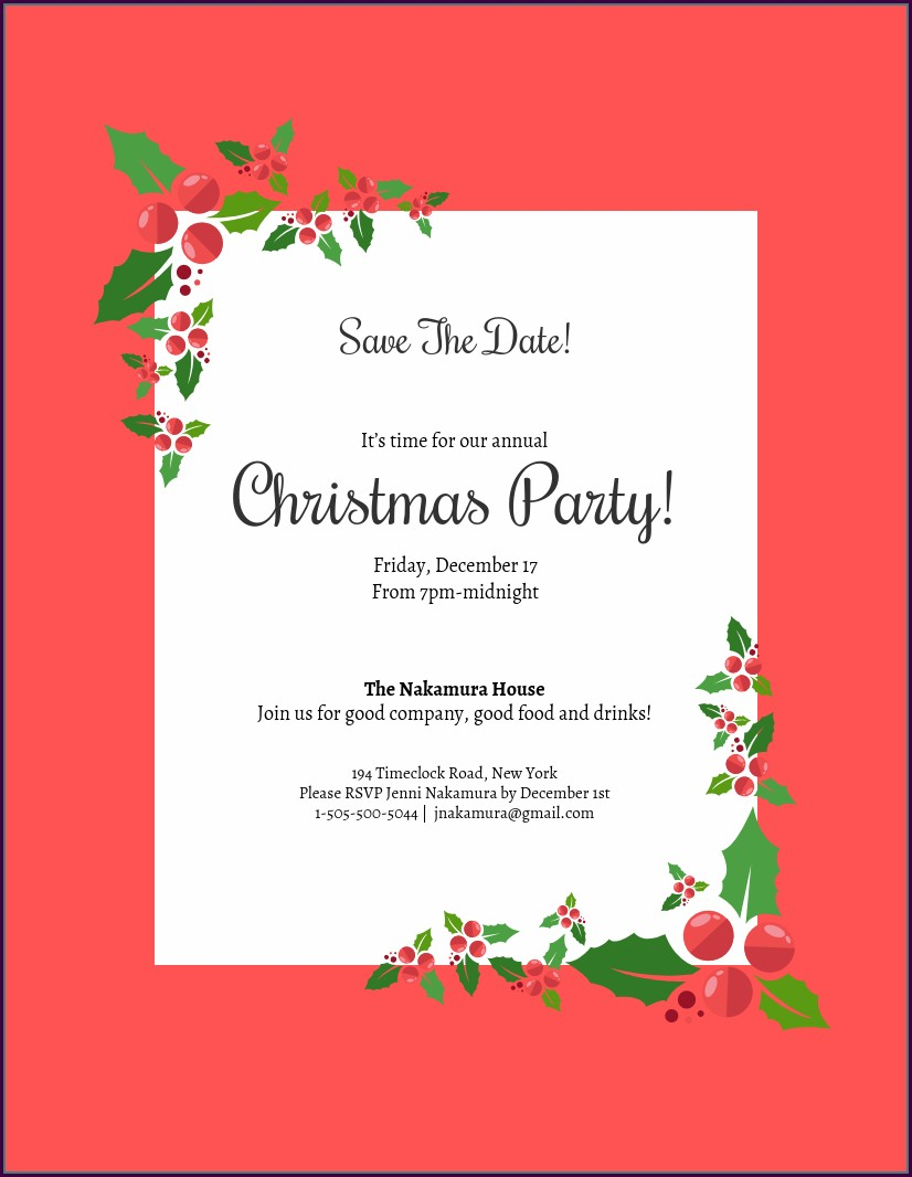Free Christmas Holiday Party Email Invitation Template For Outlook