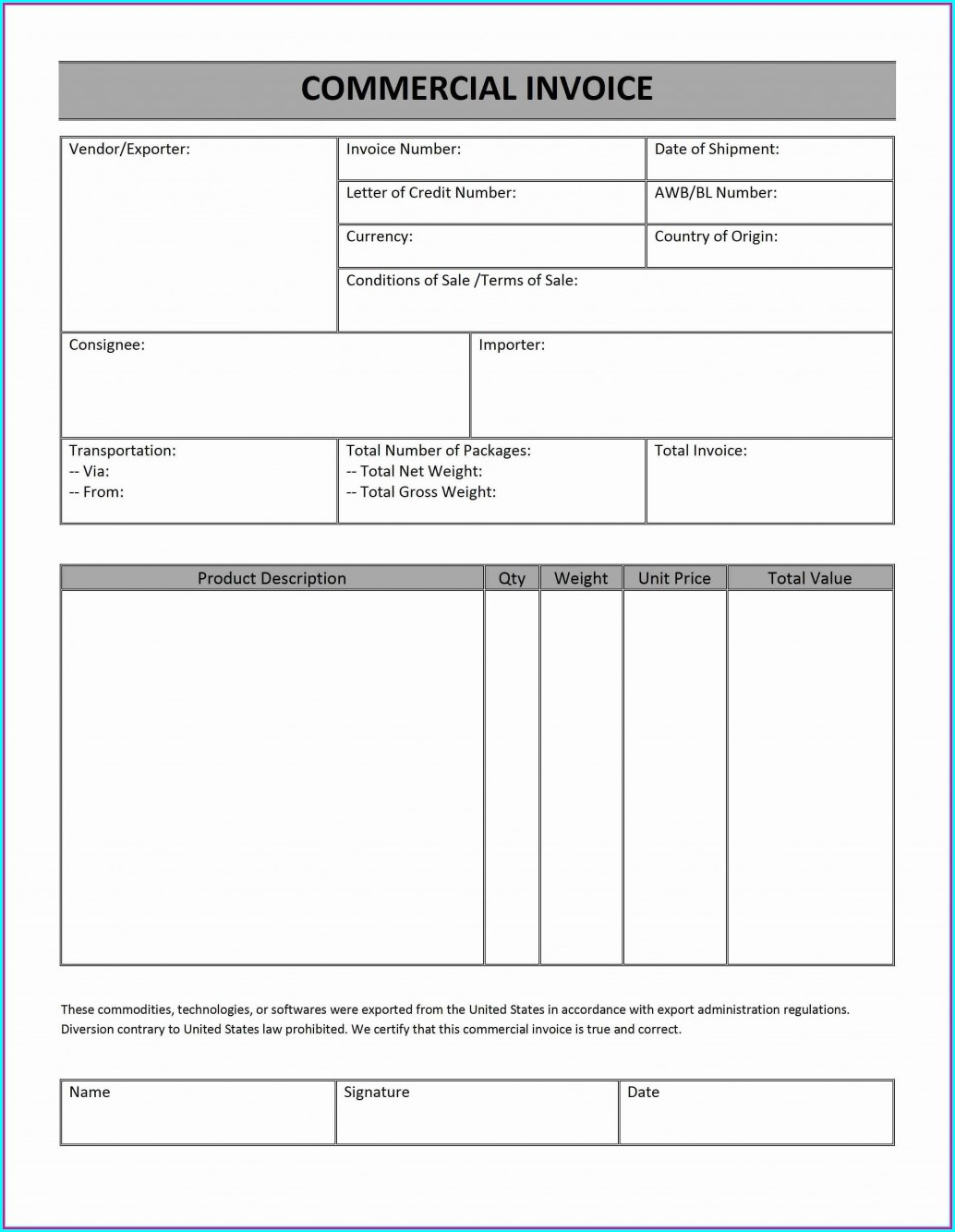 Free Commercial Invoice Template Australia
