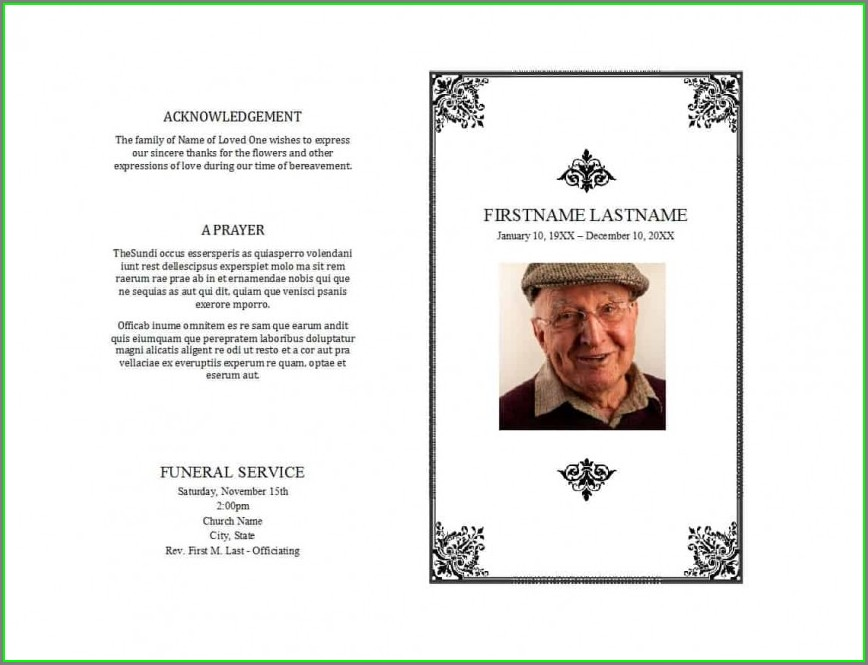 Free Editable Funeral Memorial Program Template