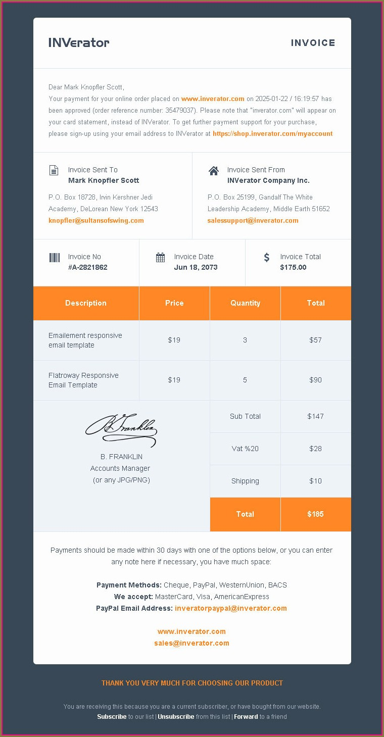 Free Email Invoice Template