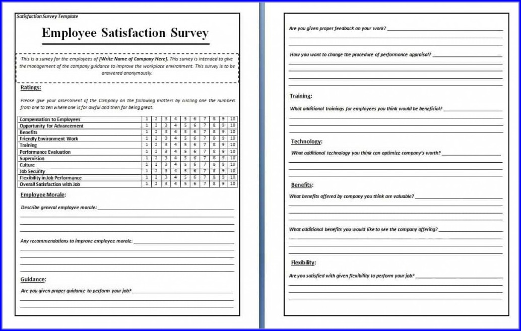 Free Employee Satisfaction Survey Template Word