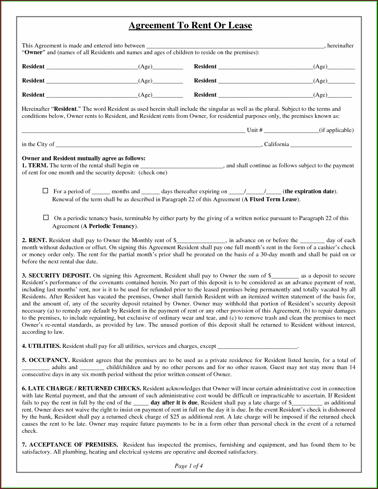 Free House Lease Agreement Template