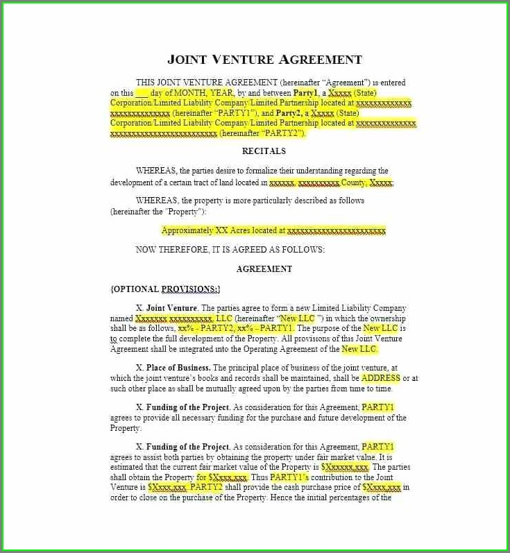 Free Joint Venture Agreement Template South Africa