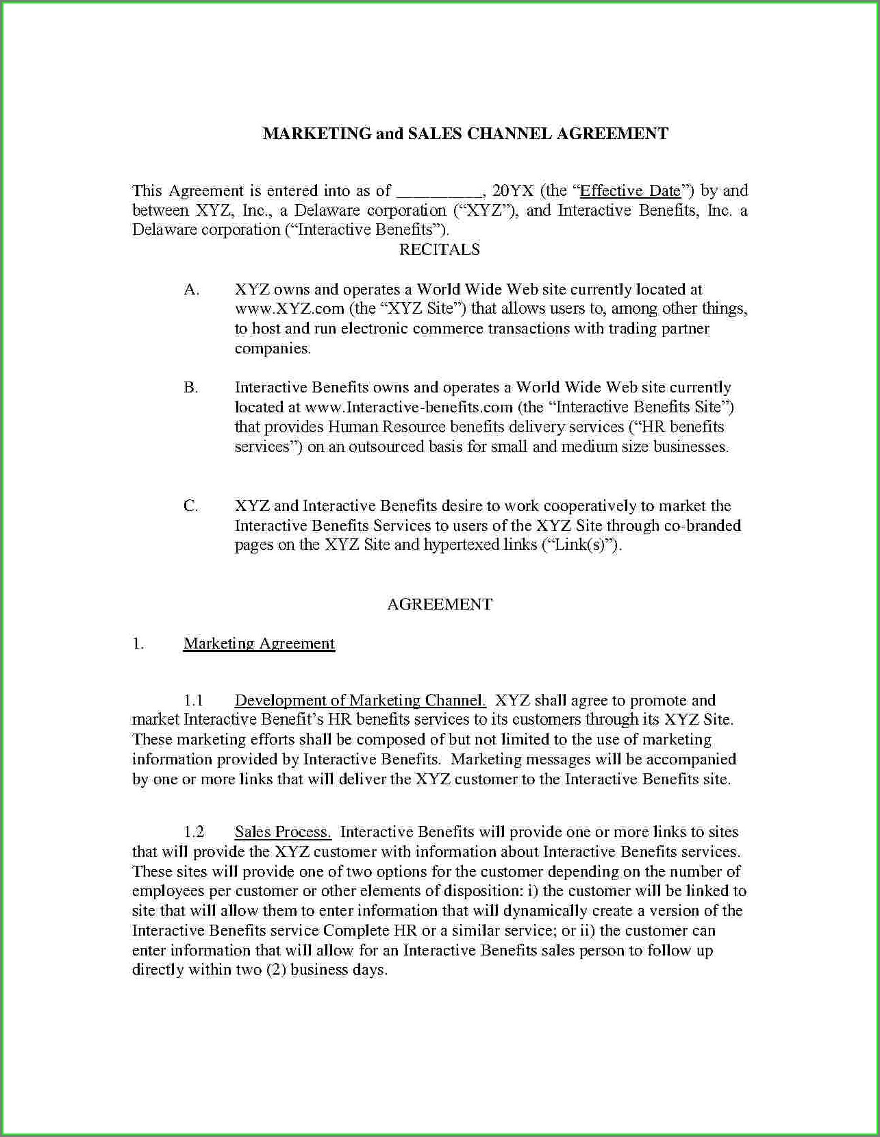 Free Joint Venture Agreement Template