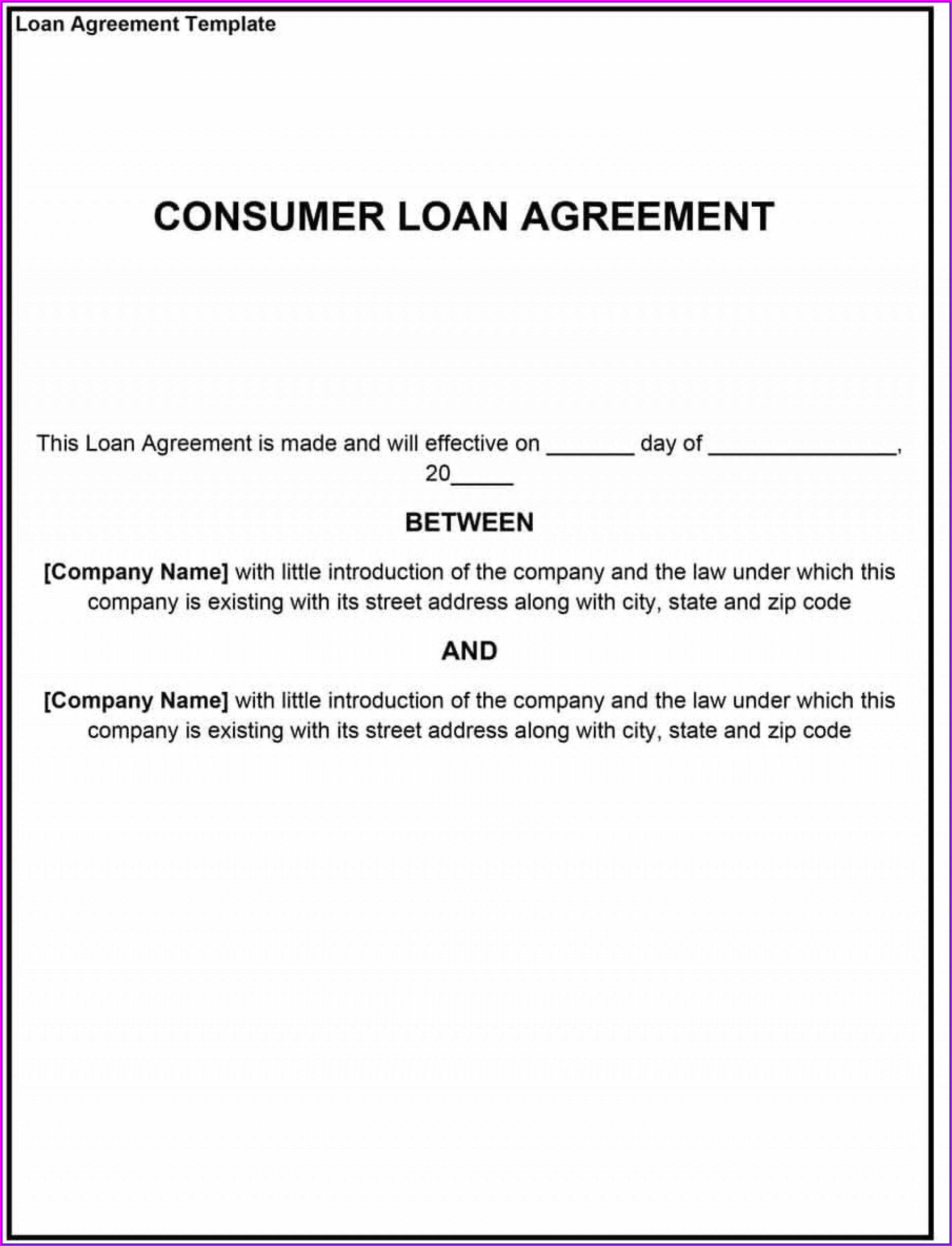 Free Loan Agreement Template Microsoft Word Australia