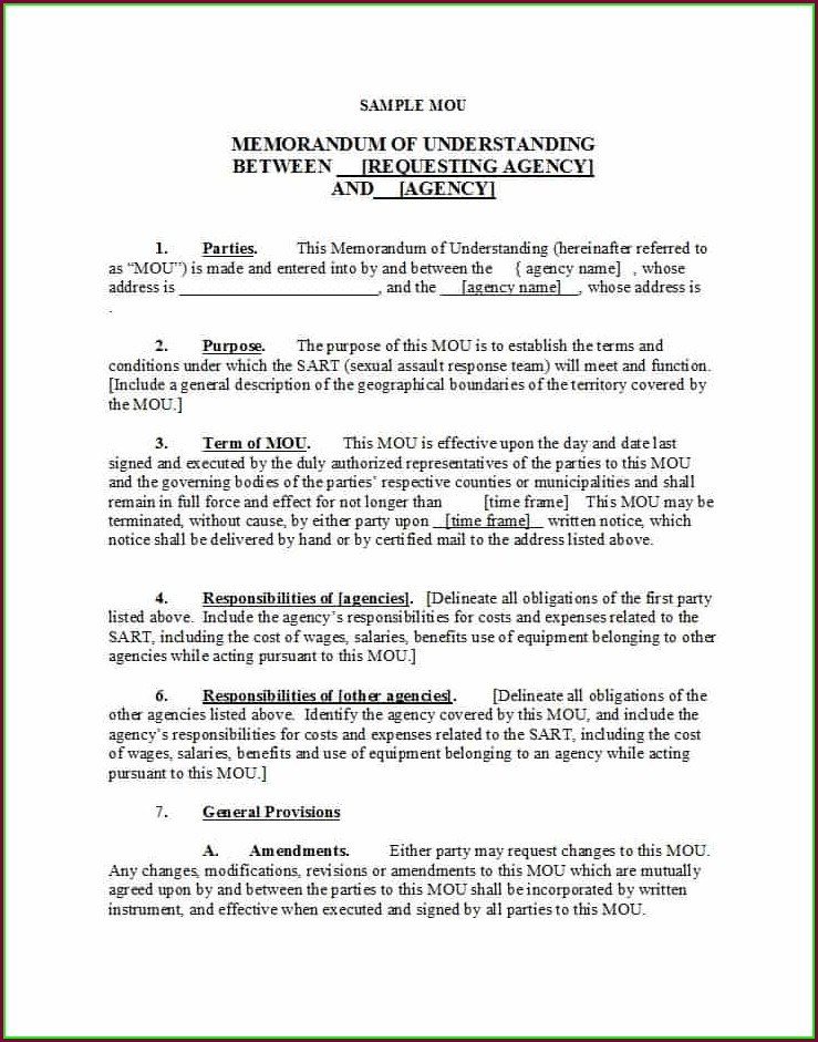 Free Memorandum Of Understanding Template Word