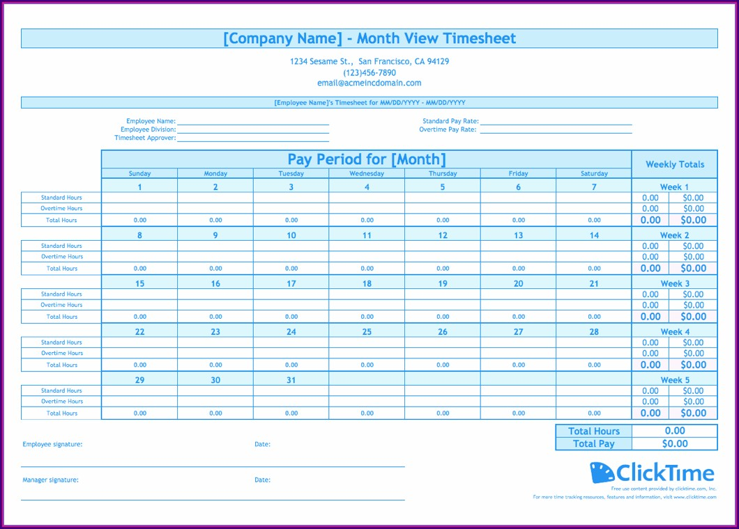 Free Monthly Timesheet Template Excel