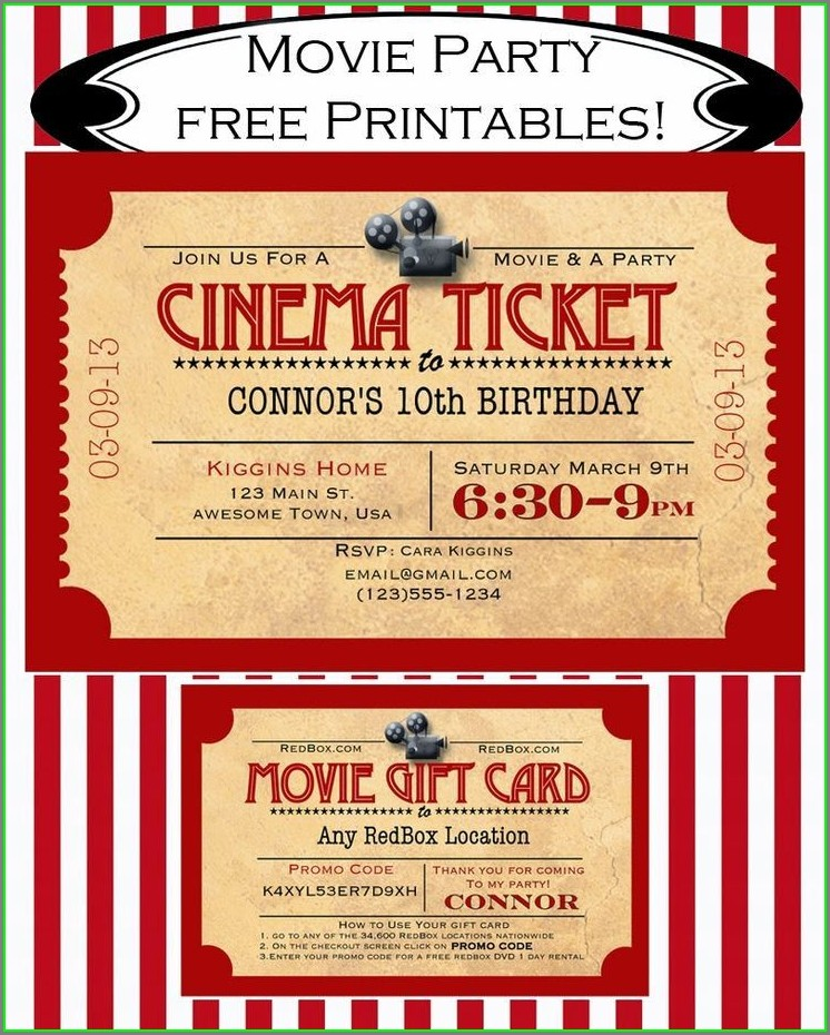 Free Movie Ticket Invitation Template