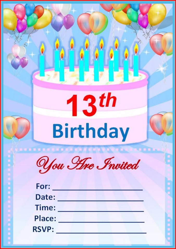 Free Printable 13th Birthday Invitation Templates