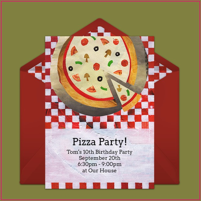 Free Printable Blank Pizza Party Invitation Template