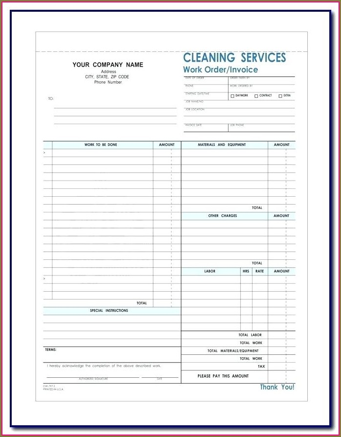 Free Printable Cleaning Contract Template Pdf