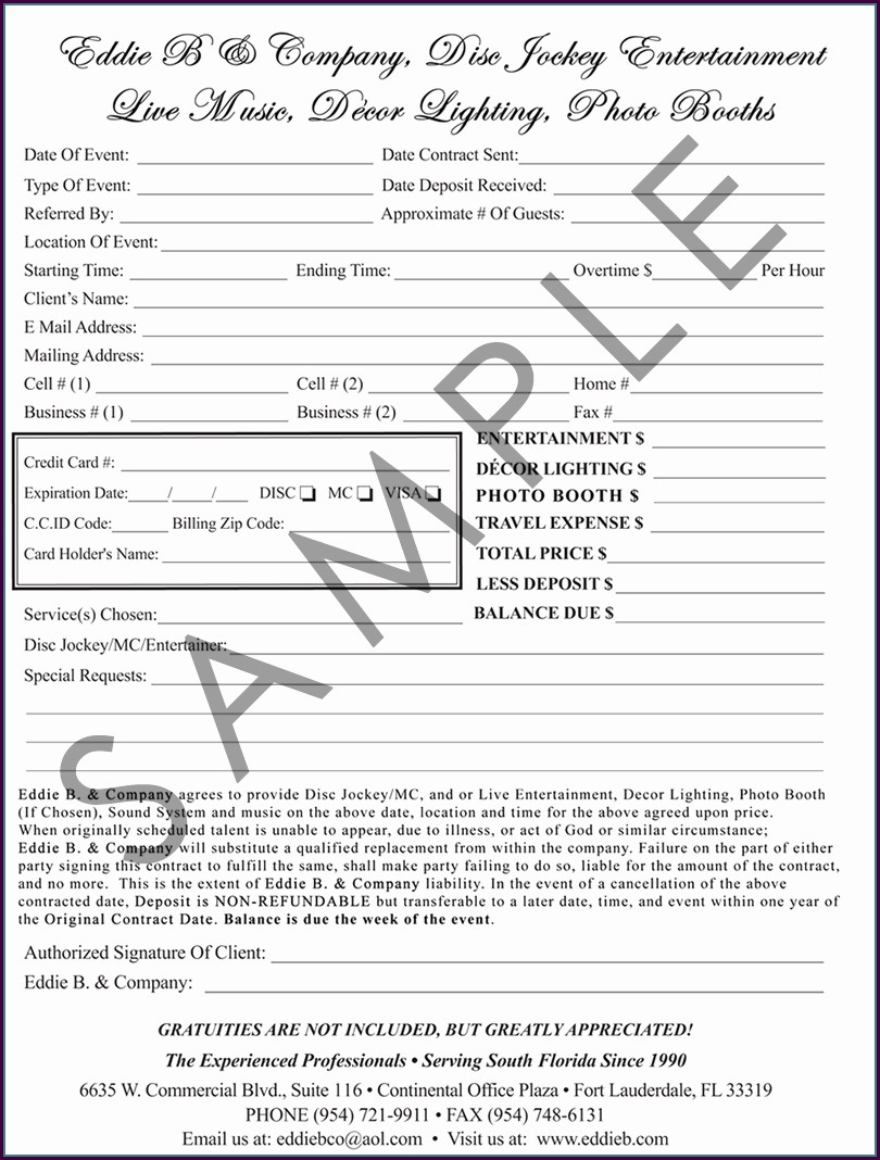 Free Printable Dj Contract Template