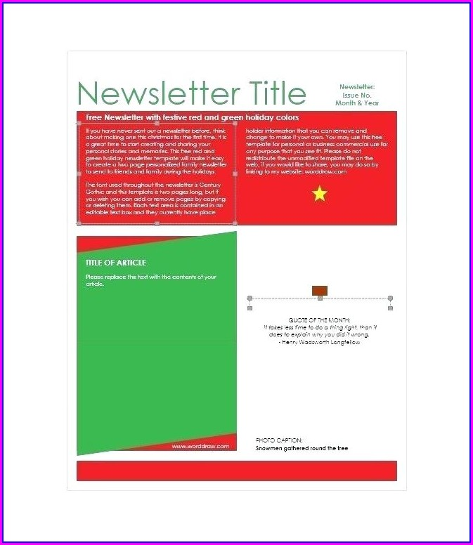 Free Printable Holiday Newsletter Templates