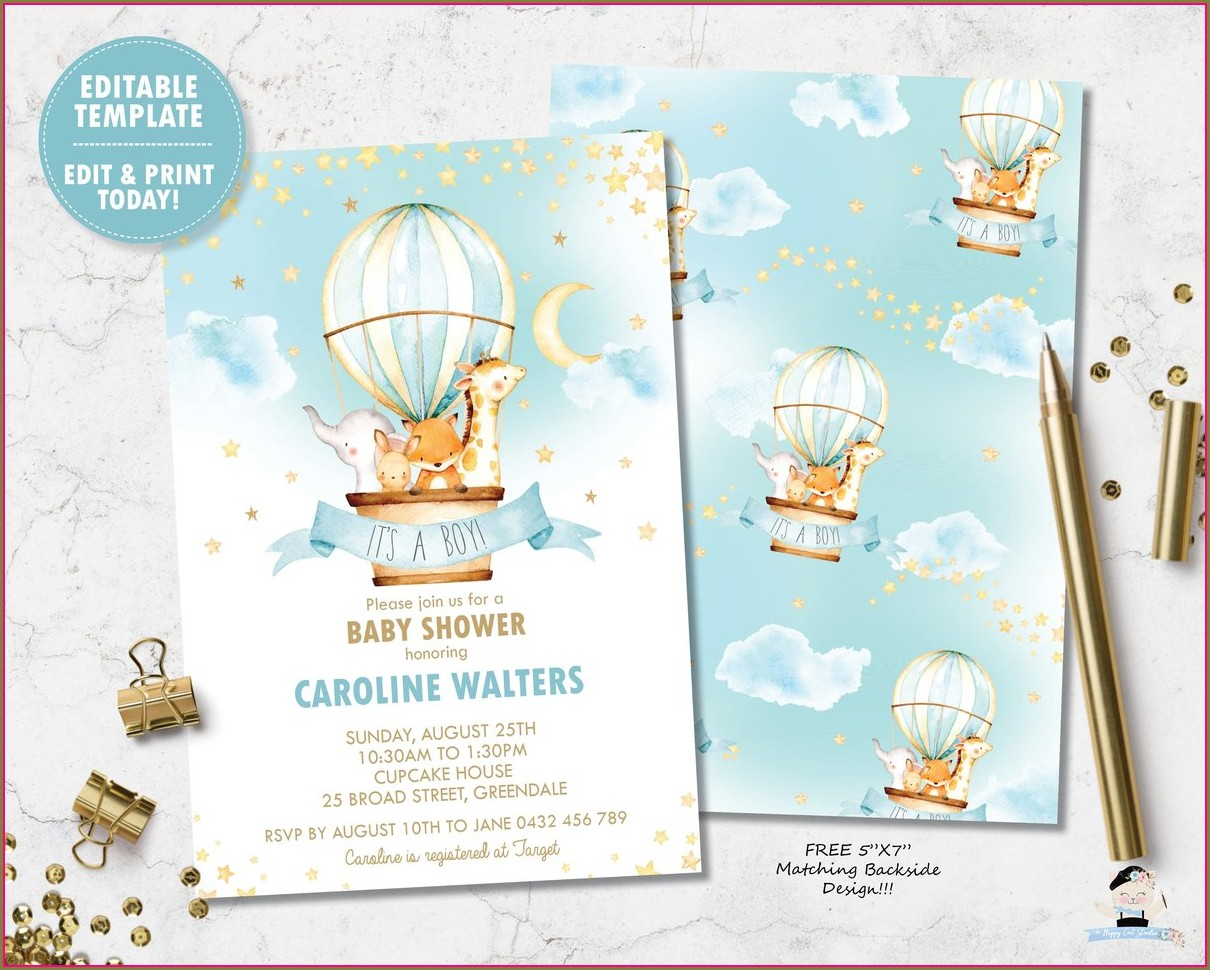 Free Printable Hot Air Balloon Invitation Template Free