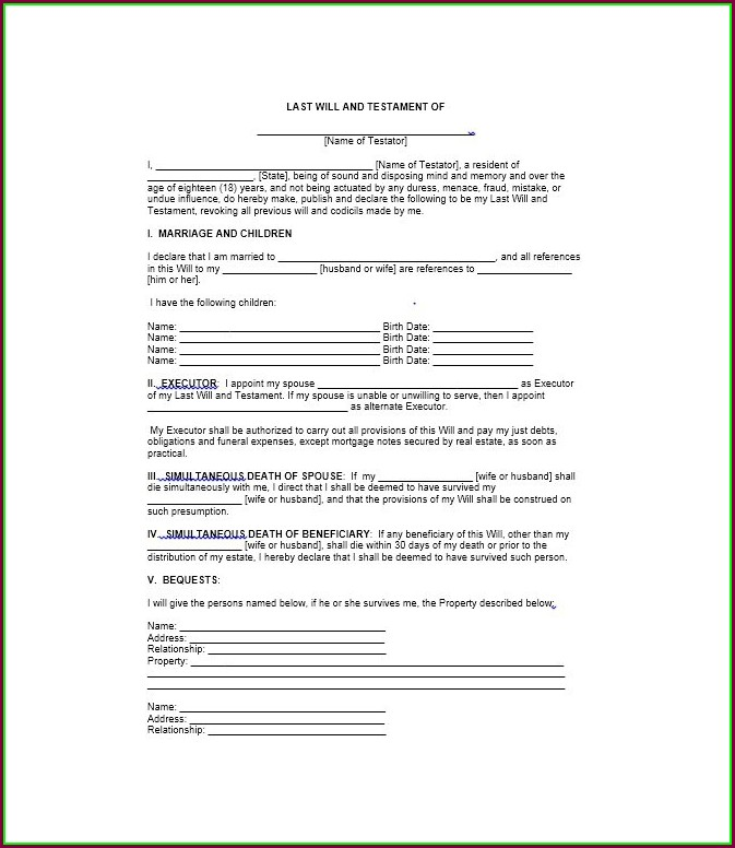Free Printable Last Will And Testament Template
