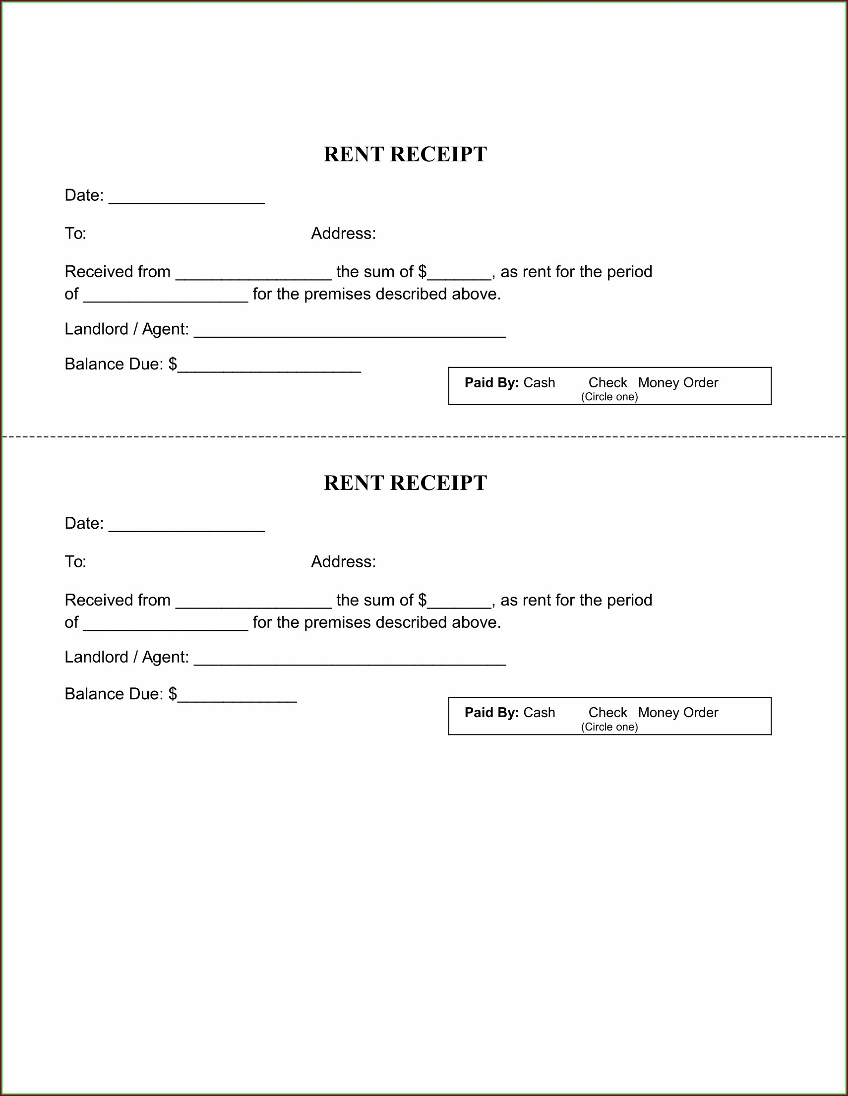 Free Printable Rent Receipt Template