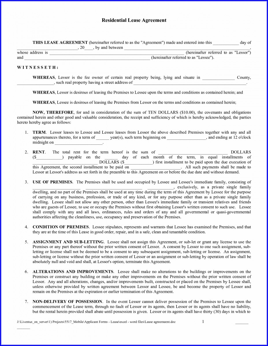 Free Printable Template Free Printable Rental Lease Agreement