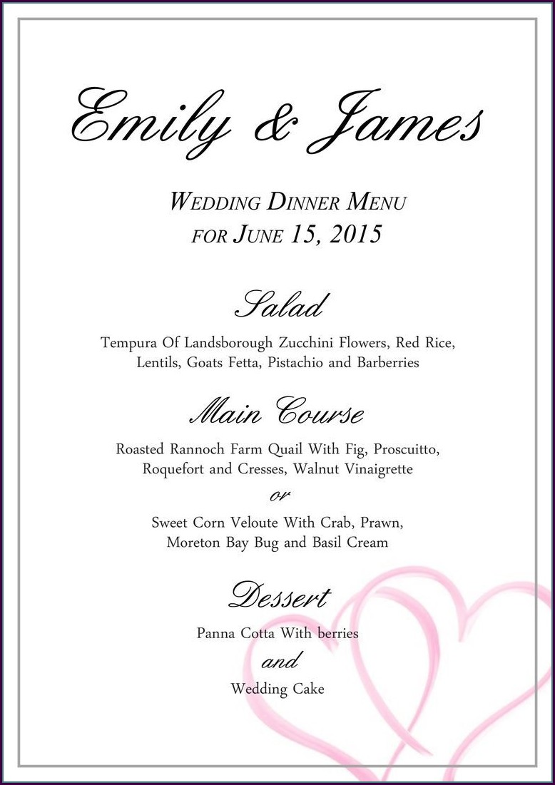 Free Printable Wedding Menu Template