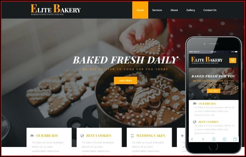 Free Responsive Website Templates For Bakery